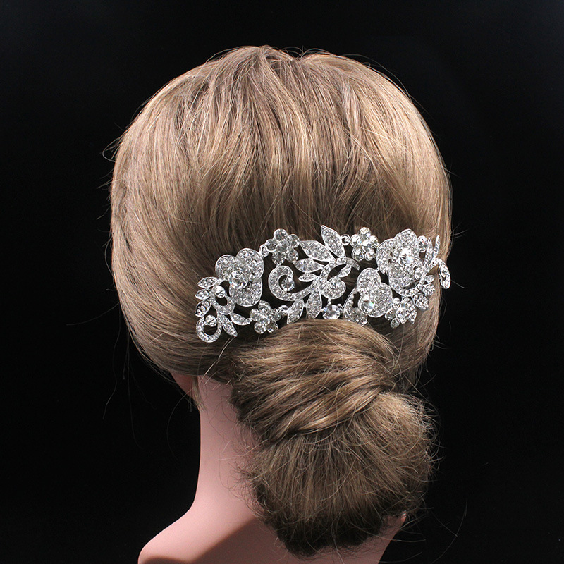 Sparkly Long Flower Hair Comb Rhinestone Hairpins Bridal