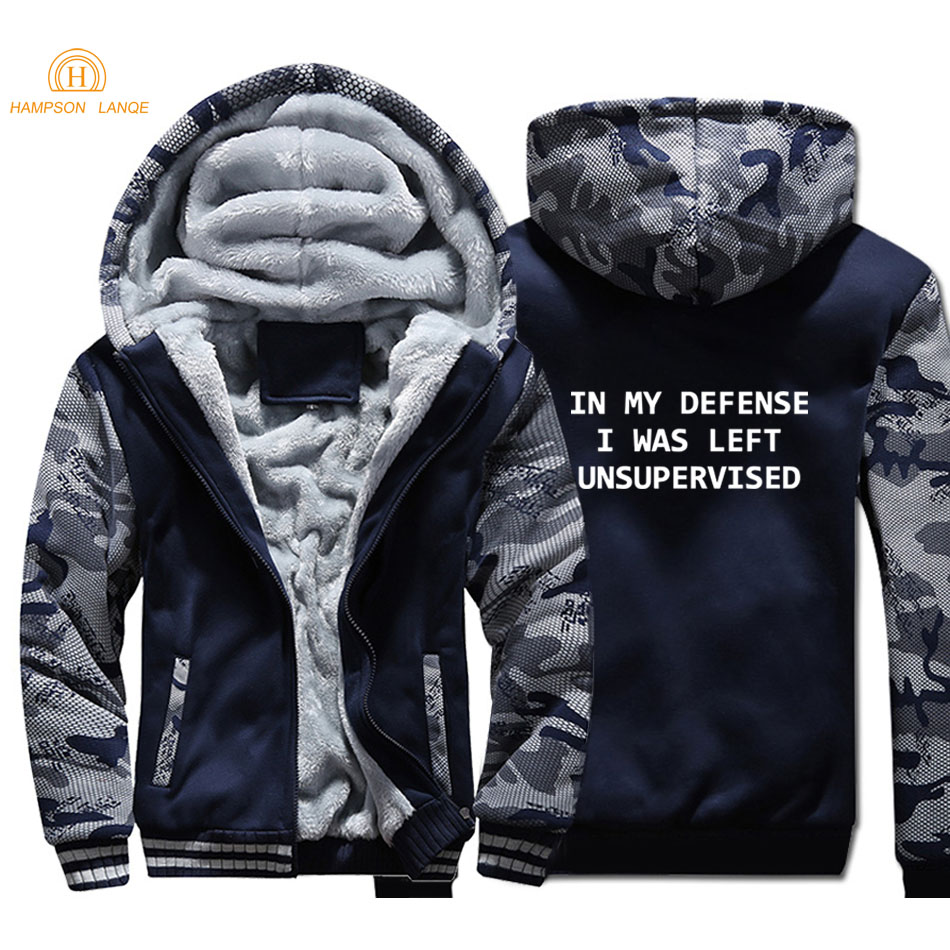 Hip Hop Hoodies In My Defense I Was Left Unsupervised 2019 Winter Punk Style Camouflage Men Jackets Coat Casual Sweatshirts in Hoodies amp Sweatshirts from Men 39 s Clothing