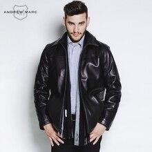 ANDREW MARC MNY 2016 Business Casual Men's Leather Genuine Sheepskin Jacket Coat Turn- down Collar Black Pilot Jackets  TM5A2190