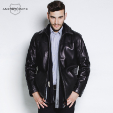 ANDREW MARC MNY Business Casual Men's Leather Genuine Sheepskin Jacket Coat Turn- down Collar Black Pilot Jackets TM5A2190