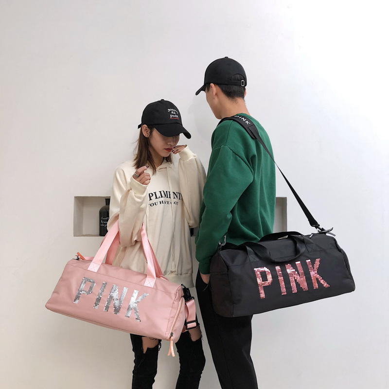 Yoga Bag Fitness Gym Bags Dry Wet Handbags For Women Men Shoes Training Sport Sequins PINK Tote Handbag Travel Duffel Bolsa