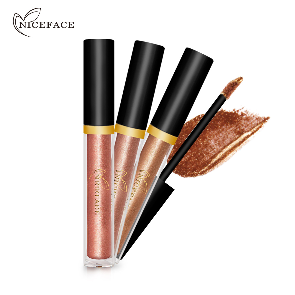 2017 New 2 in 1 Highlighter Eyeshadow Liquid Shimmer Pigmented Gold Silver Waterproof 17 Color Glitter Eye Shadow Brand Makeup