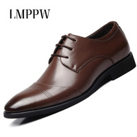 Top Quality Men Shoes Business Casual Dress Shoes Fashion Genuine Leather Wedding Oxford Shoes Black Brown