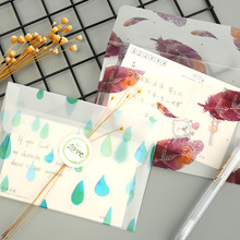 3Sheets/Pack Colorful Feather Translucent Envelop Message Card Letter Paper Storage Stationary Gifts