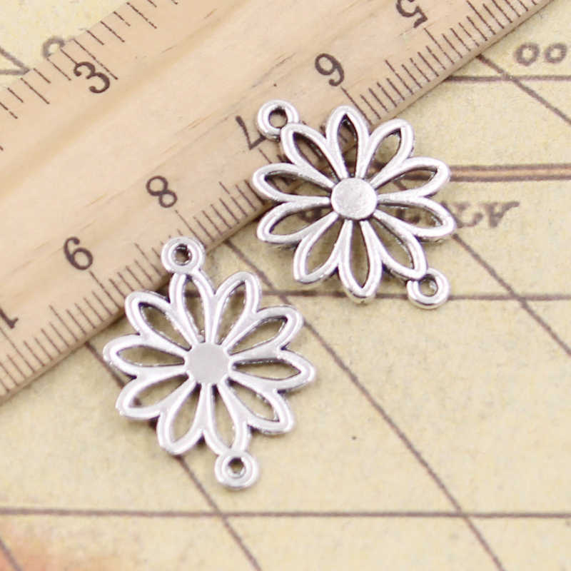 10pcs Charms flower connector 25x19mm Tibetan Silver Plated Pendants Antique Jewelry Making DIY Handmade Craft
