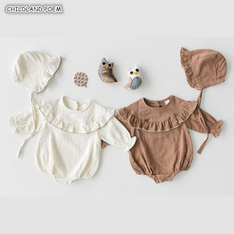 Baby   Rompers   Spring 2019 Newborn Baby Clothes Ruffle Girl   Romper   With Hat Cotton Baby Jumpsuit For Girl Baby Girls Clothes