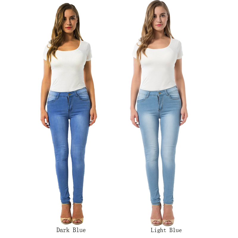 Plus Size High Waist 2018 Womens Slim Leggings Blue Fitness Jeans Fashion Women Leggings With Pockets Legging