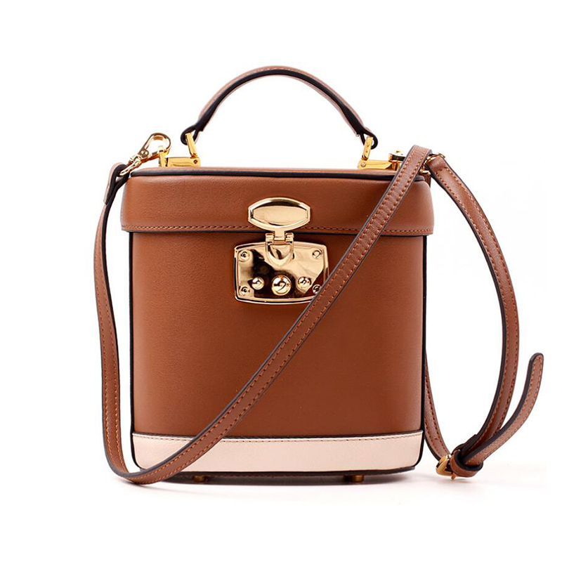 Famous Brand women genuine leather bucket bag Vintage panelled handbag Fashion lady shoulder bags Simple messenger bags tote bag