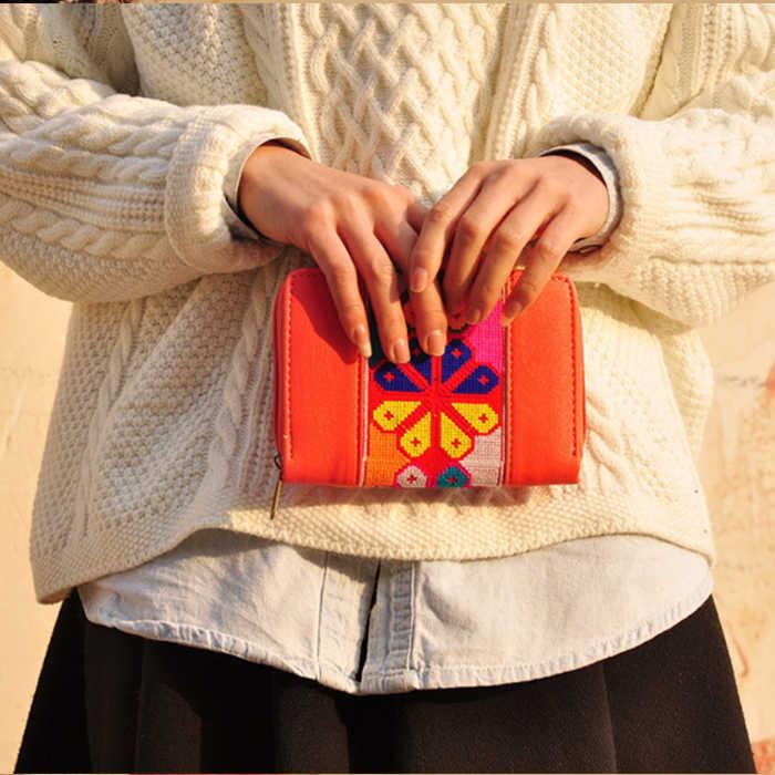 XIYUAN BRADN Phụ Nữ Cổ Điển Dân Tộc túi Hoa Thêu Đồng Xu Ly Hợp ví thẻ phụ nữ Dài Ví Tiền Xu Ví Chủ Thẻ điện thoại Túi Xách