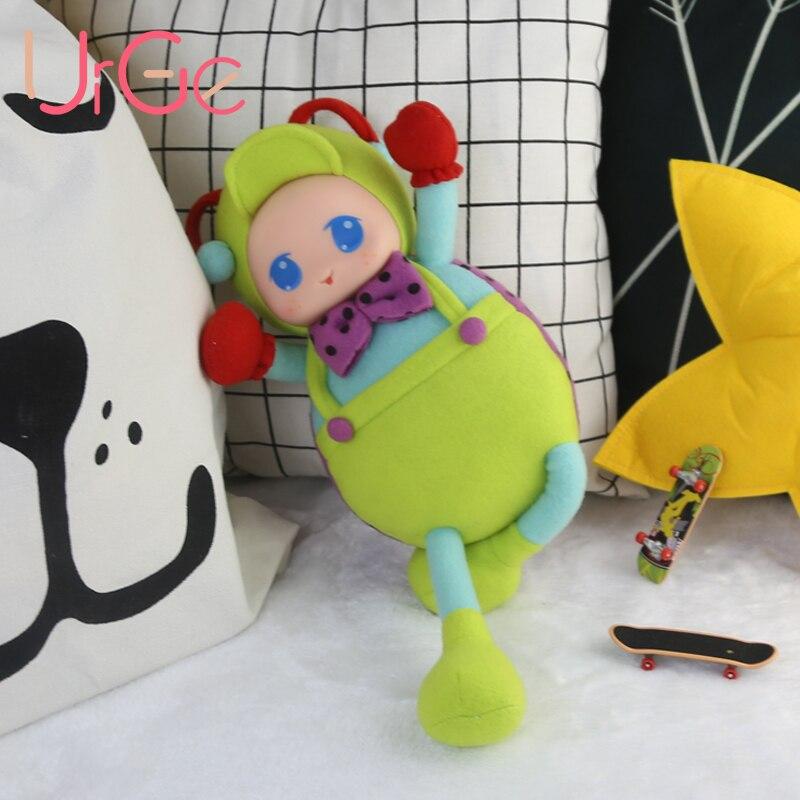 Kawaii mignonne anime en peluche Cartoon vert coléoptère poupée peluche animaux grands yeux bébé jouets pour enfants filles cadeau d