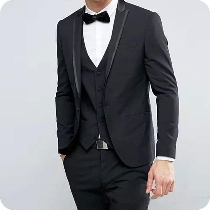 3Piece Dark Grey Men Suits Wedding Tuxedo Man Blazer Slim Fit Custom Made Groom Wear Peaked Lapel Bridegroom Suits Costume Homme