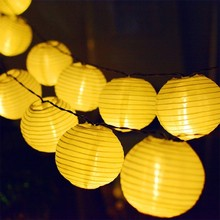 Binval Solar Lantern Lamp Festive Garden Ball String Fairy Light 10/20/30LED Patio Party Wedding Globe Garland