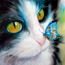5D DIY Full Drill Round Diamond Painting Diamond Embroidery Cat and Butterfly Pattern Mosaic Stickers Cross Stitch цена