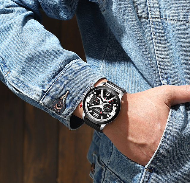 CURREN Casual Sport Top Brand Luxury Military Leather Wrist Watches 5