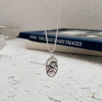 f1e89e8397e7 Guardian Angel colgantes collar 925 plata esterlina 45 cm-60 cm cadena  simple diseño vintage Collar para las mujeres joyería del encanto