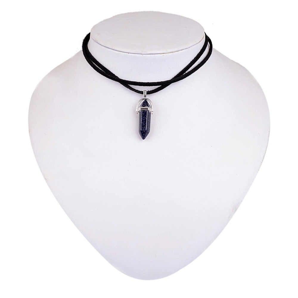 W nowym stylu podwójna warstwa czarna aksamitna Chokers moda punk geometryczny Opal wisiorki naszyjniki dla kobiet boho imprezowe biżuteria prezent