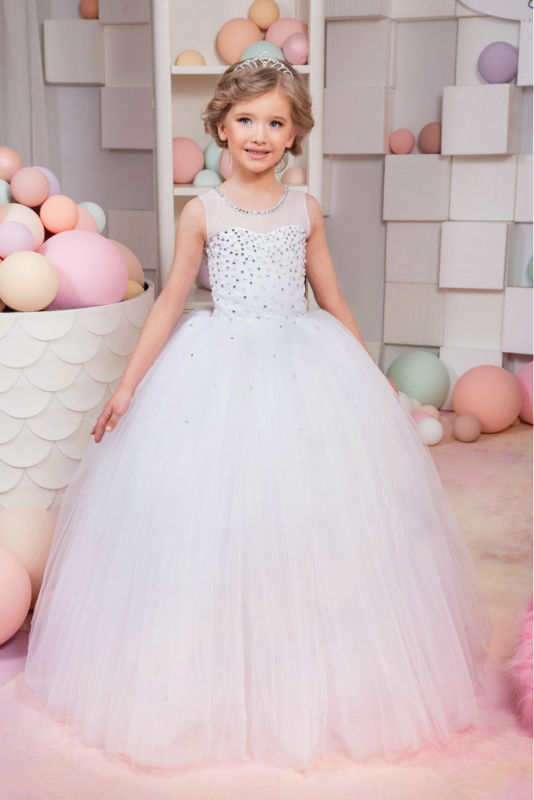 Sleeveless Flower Girls Dresses for Wedding White Girls Ball Gown Lace vestido longo Long Mother Daughter Dresses For Girls brit brit premium senior xl для пожилых собак гигантских пород 15 кг