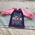 Primavera verão meninas outfits bebê Jesus rocha crianças usam camisas top boutique outfits roupas de algodão babados meia manga raglans