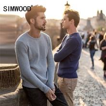 SIMWOOD 2019 Spring New Sweater Men Slim Fit 100% Pure Cotton Pullover Male Knitted Sweater Male Fashion MT017013
