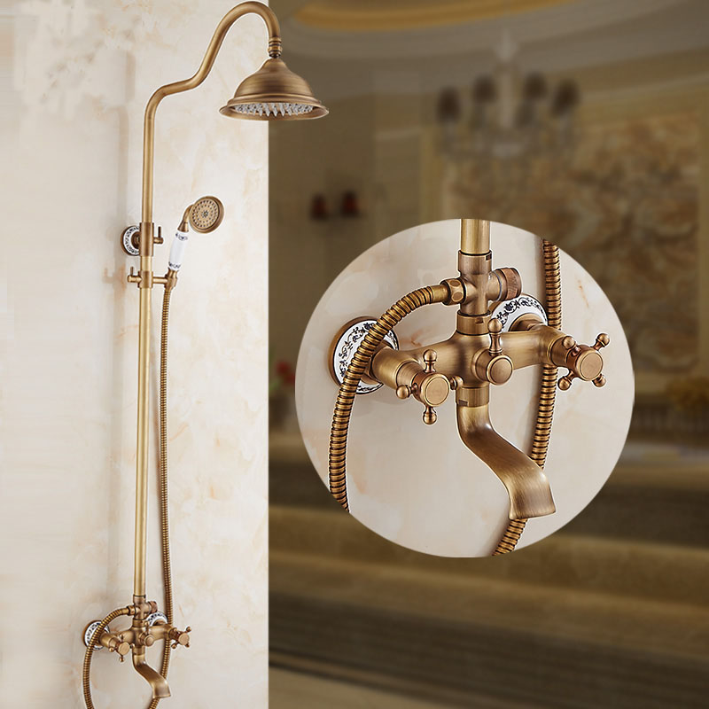 Bathroom antique copper dual handle shower faucet set wall mounted, Brass rainfall bath/shower faucet mixer solid water tap chrome polished rainfall solid brass shower bath thermostatic shower faucet set mixer tap with double hand sprayer wall mounted