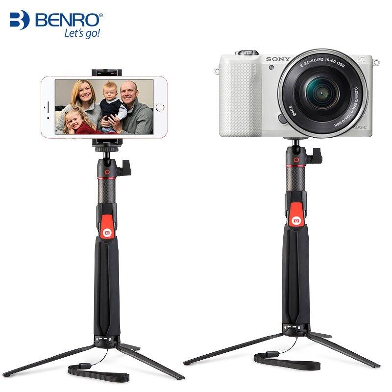 BENRO SC1 en fiber de carbone de poche mini Trépied portable selfie bâton avec sans fil Bluetooth pour smartphone D'action caméra Gopro