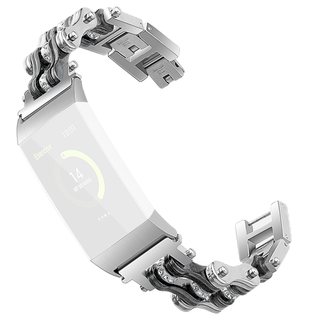 2019 hot new fashionStainless Steel Double Row Bicycle chain Metal Watch Band For Fitbit Charge 3 Purchasing