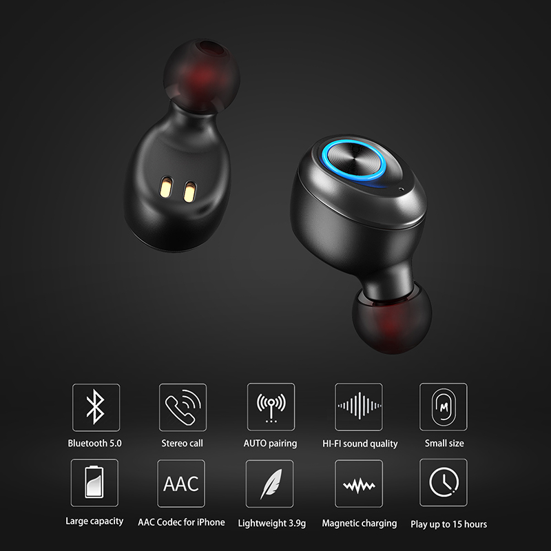 Foto of function Anomoibuds earphones with charging box. Anomoibuds headphones with charging box