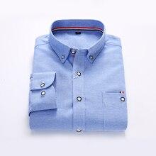 Бесплатная доставка повседневная мужская рубашка с длинным рукавом бренд Бизнес Оксфорд мужской Slim Fit рубашки мужские Твердые воротник рубашка социальный