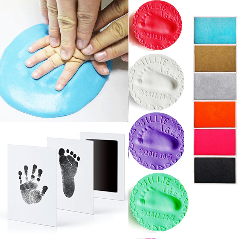 Baby Footprint Non-Toxic Photo Frame DIY Handprint Footprint Imprint Kit Baby Souvenirs Casting Clay Print Newborn Ink Pad Toys