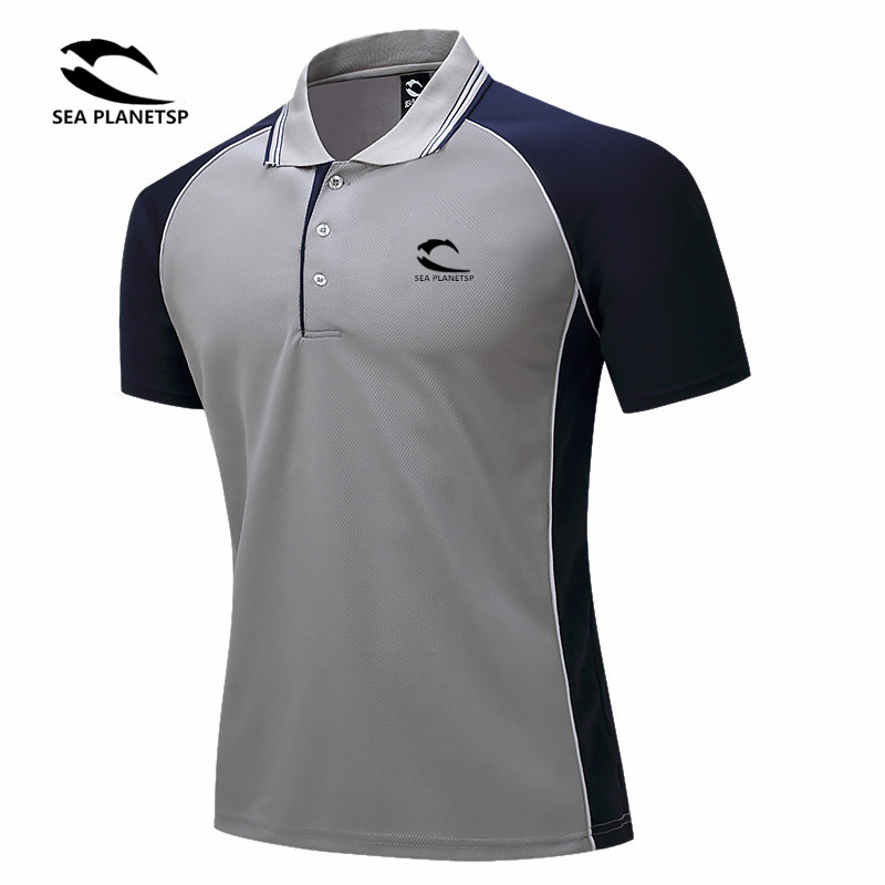 SEA PLANETSP Brand Clothing   Polo   Shirt Solid Casual   Polo   Homme For Tee Shirt Tops High Quality polyester leisure Accept custom