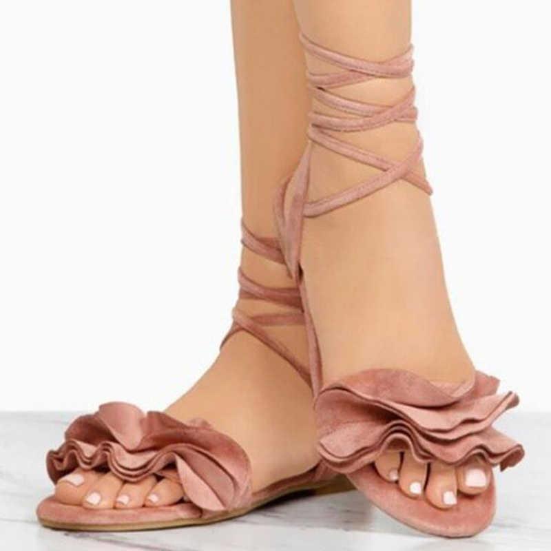 Sandali delle donne 2019 di estate delle donne sandali piatti di modo flock sandali fiori decor donne scarpe da spiaggia più il formato 42 43