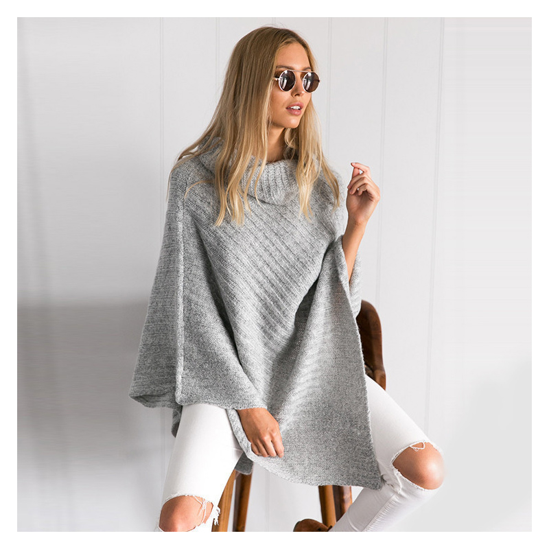 Long Shirt Autumn Head And Female The In Bat New Cape Winter Pile Of Sweaters Fashion Collar Shawl 8a8FTw
