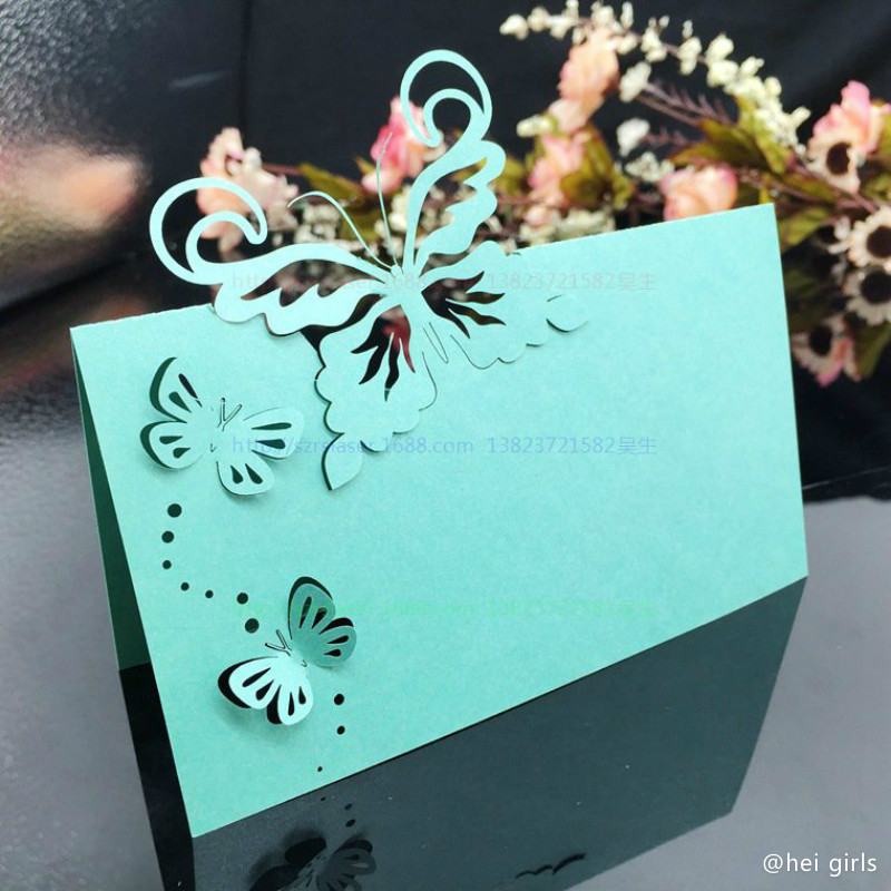 50pcslot hollow wedding invitations 2016 butterfly table name card wedding decoration for business