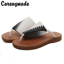 цены Careaymade-Hot selling,New 2017 Summer,Patchwork genuine leather flat slippers,Students pinch all-match retro flat heel slippers