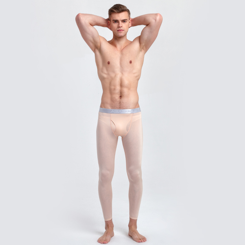 2019 Men Thermal Underwear Long Johns Ice Silk Slim Seamless Sexy Mens Tight Underpants Leggings Ultra-thin Calzoncillos Hombre