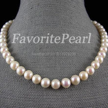 Pearl Necklace – Round 9-10mm 17.5-18 Inches White Color Freshwater Pearl Necklace Perfect Lady's Bridesmaid Wedding Jewelry