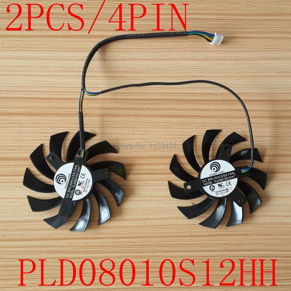 Llongau am ddim POWER LOGIC PLD08010S12HH DC12V 0.35A 4pin deuol Fan MSI 460GTX 560GTX 570GTX 580GTX R6790 R6870 R6850HAWK ffan