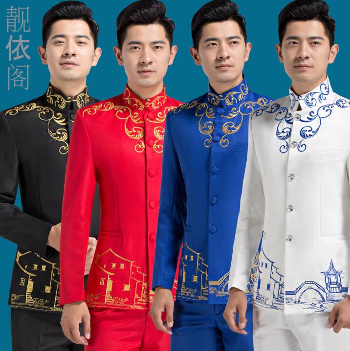 Blazer Men Formal Dress Chinese Tunic Suit Men Costume Homme Terno Masculino Trouser Marriage Wedding Suits For Men's Embroidery