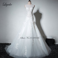Liyuke Alluring Tulle Scalloped Court Train Cap Sleeves A Line Cheap Wedding Dress Appliques Backless Vestido