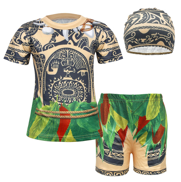 AmzBarley Maui Swimming Costume Boys Kids 3pcs Swimsuit Child Swimwear Summer Holiday Bathing Suit Beach Wear Top Shorts Trunks Clothing Set with Cap
