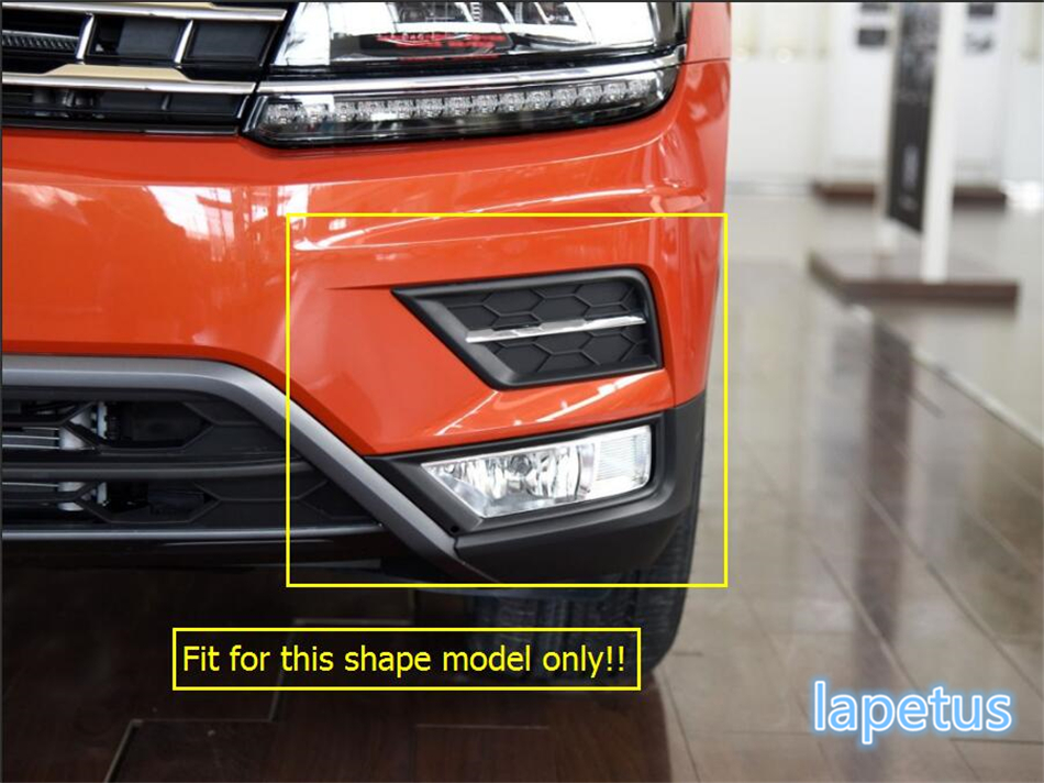 Lapetus 3 Choice For Volkswagen VW Tiguan 2016 2017 2018 Front Head Fog Light Lamp Decoration Stickers Cover Kit Trim 2 Pcs