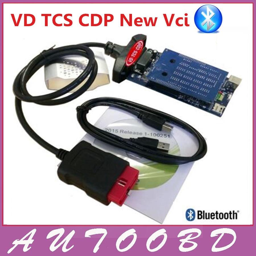 Prix pour 2014. R2/2015. R1 Logiciel Nouveau vci avec Bluetooth VD TCS CDP Pro Plus meilleur DEUX PCB Puce Générique 3 in1 pour OBD2 OBDII Voitures Camions