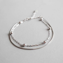 Ruifan High Quality Double Layer Thin Snake Chain Link 100% 925 Sterling Silver Bracelets for Women Ladies Fine Jewelry YBR058