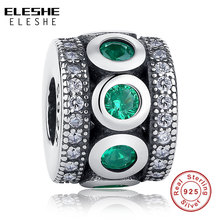 ELESHE Green CZ Crystal Spacer Beads 925 Sterling Silver Charm Fit Original Charms Bracelet Women DIY Fashion Jewelry