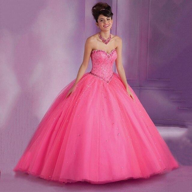 2017 Best Seller Baratos Masquerade Bola Vestidos Frisados Cristais Corset Doce 16 Princesa Vestidos Quinceanera Rosa