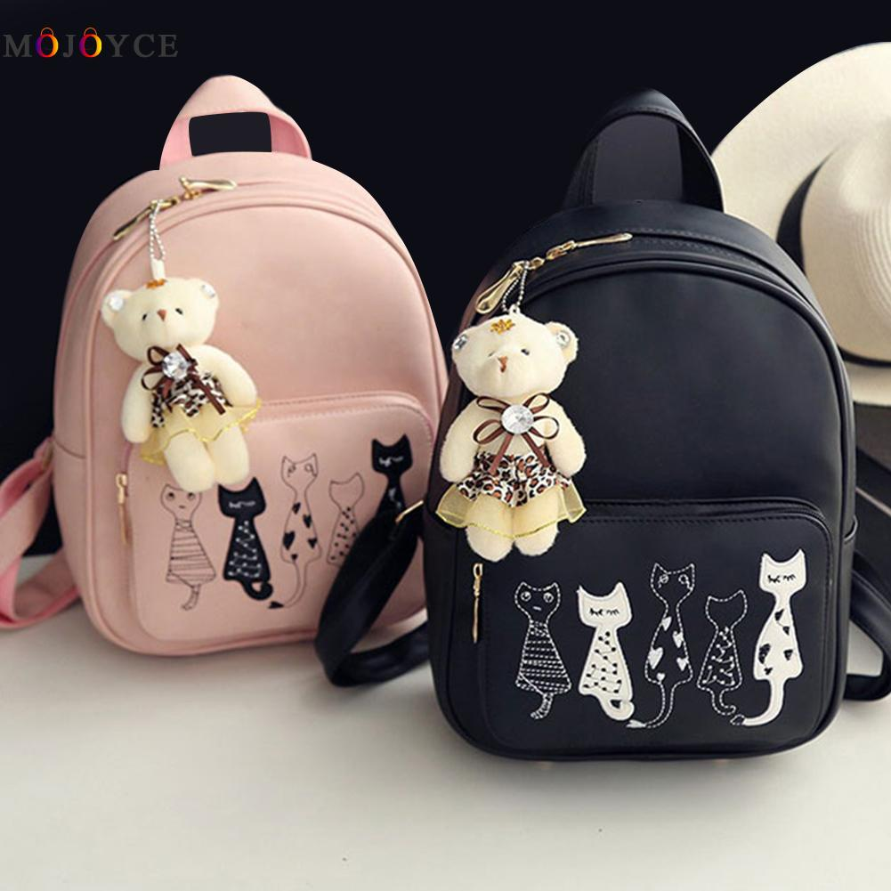 4pcs/set Small Backpacks Female School Bags For Teenage Girls Black Pink Pu Leather Women Backpack Shoulder Bag Purse Mochila #3