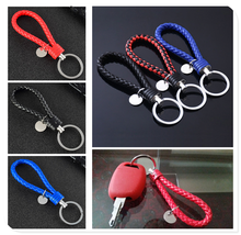 New car shape pendant new woven leather keychain rope DIY for Chevrolet Cobalt Celta West Uplander Cavalier Astra(China)