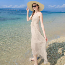 Women 100 Silk dress Beach 100% Natural Elegant Nude Beige V-neck Holiday summer dresses Free Shipping HOT Sell