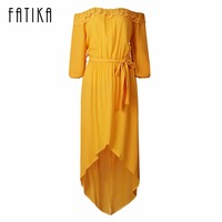 FATIKA 2017 New Fashion Women Strapless Ruffles Pleated Casual Dress With Belt Lantern Sleeve Summer Off