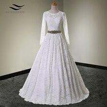 Solovedress, кружевное платье с круглым вырезом, настоящая фотография, Pus, размер совок, длинный рукав, свадебное платье, бальное платье, свадебное платье с поясом SLDW90099